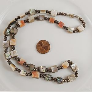 Vintage Shell Abalone Shell Beaded Necklace Coral